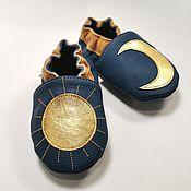 Одежда детская handmade. Livemaster - original item Blue&Gold Baby Shoes, Sun Baby Moccasins, Moon Baby Slippers. Handmade.