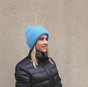 Аксессуары handmade. Livemaster - original item Oversize mohair hat . Blue winter hat . woman beanie hat. Handmade.