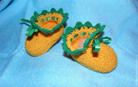 """Для новорожденных, ручной работы. Ярмарка Мастеров - ручная работа. Купить Пинетки """"Сочный апельсин"""". Handmade. Оранжевый, пинетки в подарок"""