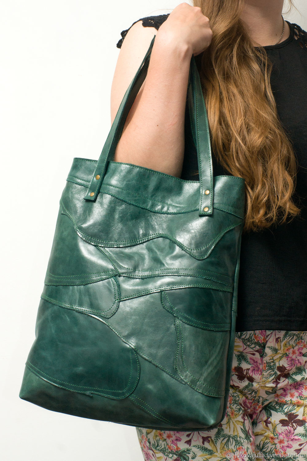 Tote: Patchwork bag, genuine green leather, Tote Bag, Stavropol,  Фото №1