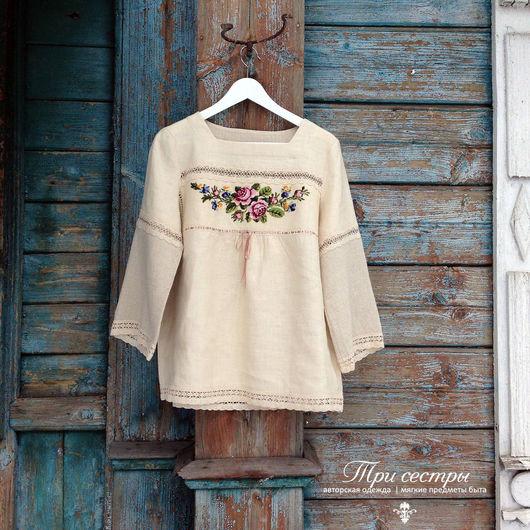 """Блузки ручной работы. Ярмарка Мастеров - ручная работа. Купить Блуза """"С розами"""" грушевая. Handmade. Бежевый, вышивка, хлопок"""