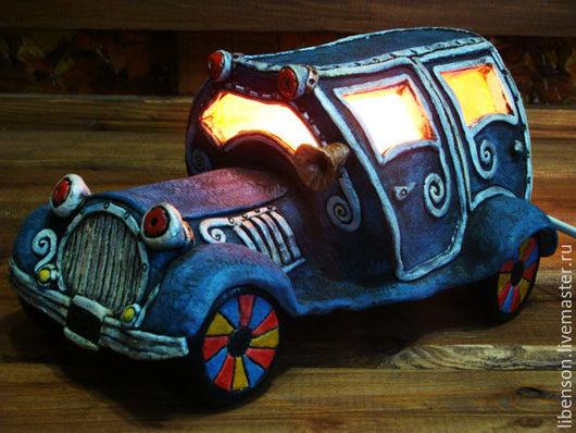 Освещение ручной работы. Ярмарка Мастеров - ручная работа. Купить Ночник Ретроавтомобиль. Handmade. Синий, глина