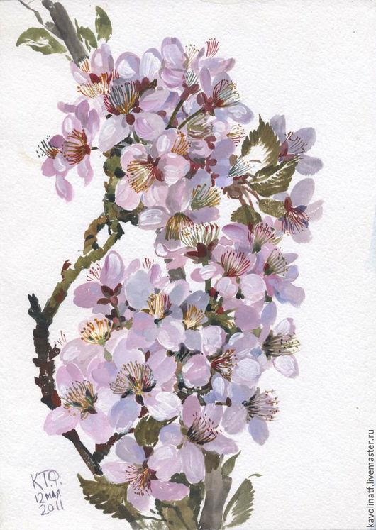 Картины цветов ручной работы. Ярмарка Мастеров - ручная работа. Купить Сакура в ботаническом саду. Handmade. Брусничный, цветы, подарок