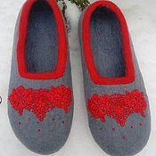 "Обувь ручной работы handmade. Livemaster - original item Slippers ""Spring-red"". Handmade."