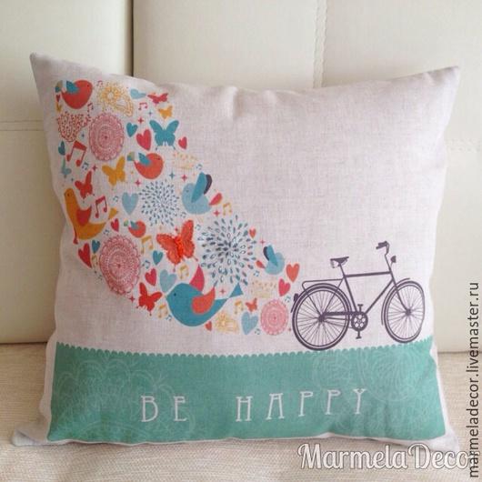 """Текстиль, ковры ручной работы. Ярмарка Мастеров - ручная работа. Купить Декоративная подушка из чистого льна """"Be happy"""". Handmade."""