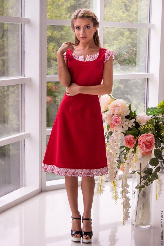 """Платья ручной работы. Ярмарка Мастеров - ручная работа. Купить Платье """"Rouge"""". Handmade. Ярко-красный, летнее платье"""