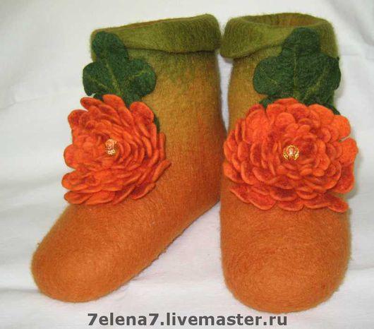 """Обувь ручной работы. Ярмарка Мастеров - ручная работа. Купить Домашние валеночки """"Огненный цветок"""". Handmade. 100% шерсть"""