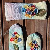 """Аксессуары ручной работы. Ярмарка Мастеров - ручная работа Комплект """"Букетик""""(рукавички, полоска на голову). Handmade."""