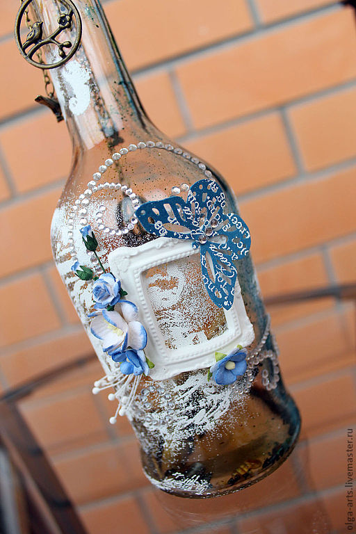 """Декоротивная бутылка """"Голубое послание"""""""