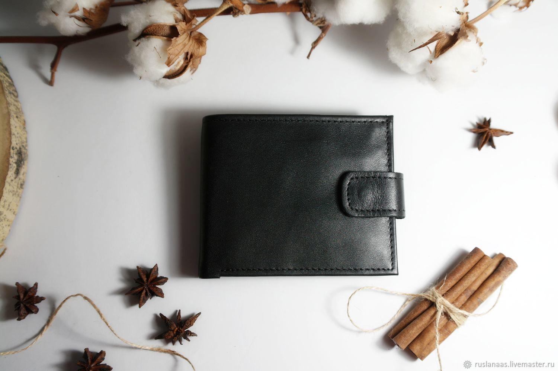 Кошелек портмоне мужской чёрный кошелёк на кнопке натуральная кожа, Кошельки, Киров,  Фото №1