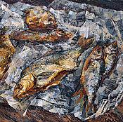 Картины и панно handmade. Livemaster - original item Oil painting still life with dried fish. Painting.. Handmade.