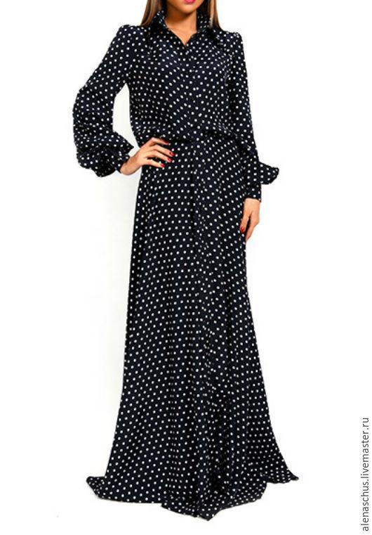 Платья ручной работы. Ярмарка Мастеров - ручная работа. Купить Платье рубашка в пол с длинным рукавом. Handmade. Черный