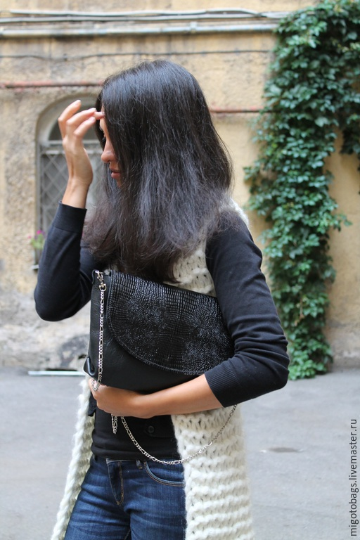 Женские сумки ручной работы. Ярмарка Мастеров - ручная работа. Купить черная крокодиловая. Handmade. Черный, женская кожаная сумка