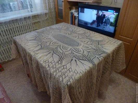 Текстиль, ковры ручной работы. Ярмарка Мастеров - ручная работа. Купить Скатерть овальная. Handmade. Бежевый, оформление интерьера
