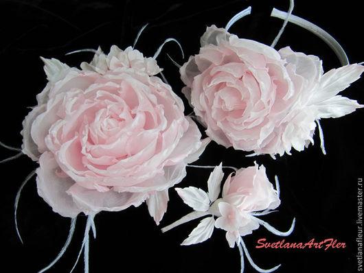 Цветы ручной работы. Ярмарка Мастеров - ручная работа. Купить Свадебный комплект украшений из шёлка. Handmade. Бледно-розовый, крепдешин