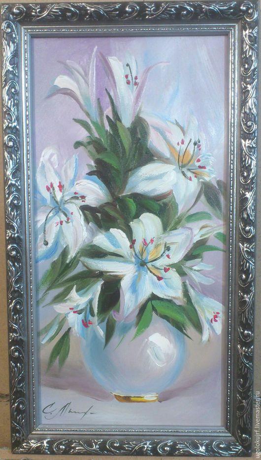 Картины цветов ручной работы. Ярмарка Мастеров - ручная работа. Купить Картина рисованная маслом Цветы в багете, размер 45х25 см.. Handmade.