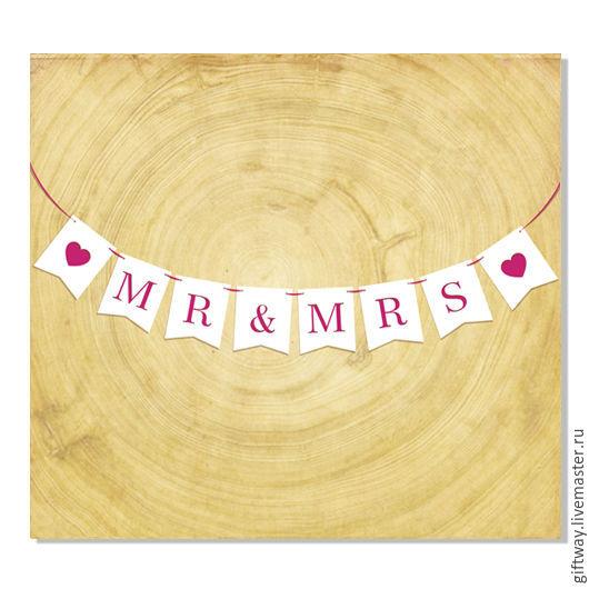 """Свадебные аксессуары ручной работы. Ярмарка Мастеров - ручная работа. Купить Флажки из фетра """"Mr & Mrs"""". Handmade."""