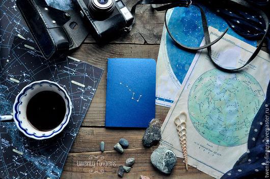 """Блокноты ручной работы. Ярмарка Мастеров - ручная работа. Купить Тетрадь """"Ночь"""" Indian Blue А6. Handmade. Синий, звезды"""