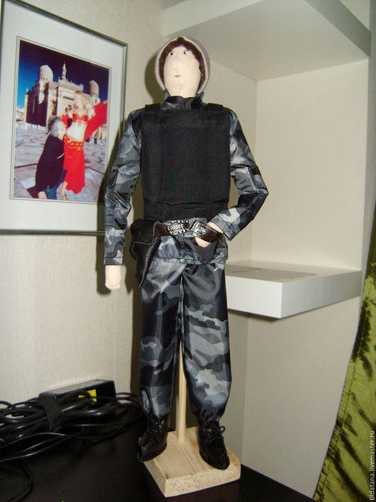 Куклы Тильды ручной работы. Ярмарка Мастеров - ручная работа. Купить текстильная кукла - спецназовец. Handmade. Серый, кобура