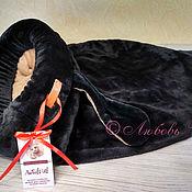 """Лежанки ручной работы. Ярмарка Мастеров - ручная работа Лежанка - спальный мешок для кошки """"Такса"""" черная. Handmade."""