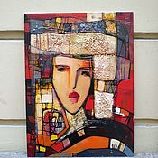 Картины и панно handmade. Livemaster - original item Picture on cardboard 30h40 with a girl a gift to a girl in a room a girl. Handmade.