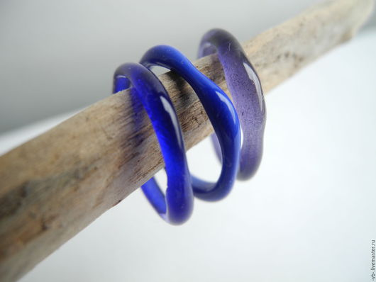"""Кольца ручной работы. Ярмарка Мастеров - ручная работа. Купить Набор колечек """"Синева"""" из муранского стекла ручной работы. Handmade."""