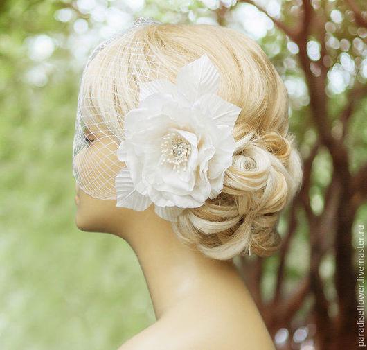 Свадебные украшения ручной работы. Ярмарка Мастеров - ручная работа. Купить Свадебная вуалетка, Вуалетка с цветами, Шляпка с вуалью. Handmade.