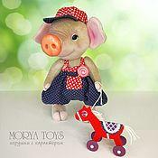 Куклы и игрушки handmade. Livemaster - original item Teddy Animals: Pig Teddy Phil with a horse, the Summer Game, Blue, Red. Handmade.