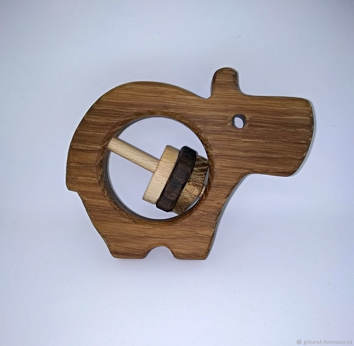 Wooden rattle Hippo Makar, Teethers and rattles, Moscow,  Фото №1