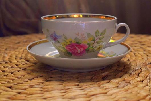 Винтажная посуда. Ярмарка Мастеров - ручная работа. Купить Чайная пара. Дулево. Handmade. Комбинированный, чашка с блюдцем, фарфоровая посуда