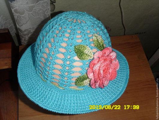 Шляпы ручной работы. Ярмарка Мастеров - ручная работа. Купить шляпка  с полями летняя. Handmade. Бирюзовый, ажурная