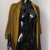 Одежда ручной работы. Ярмарка Мастеров - ручная работа Накидка-кардиган из кид-мохера горчично-зеленый. Handmade.
