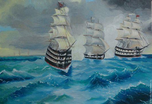 Репродукции ручной работы. Ярмарка Мастеров - ручная работа. Купить Битва.. Handmade. Синий, корабли, море, океан, шторм, битва