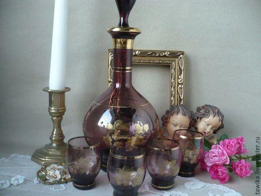 Винтажная посуда. Ярмарка Мастеров - ручная работа. Купить Набор графин и 4 стопки, антиквариат, стекло / золото, Венеция. Handmade.