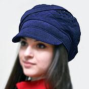 Аксессуары ручной работы. Ярмарка Мастеров - ручная работа Натуральная замша, кепка синяя с козырьком. Осень весна берет шапка. Handmade.