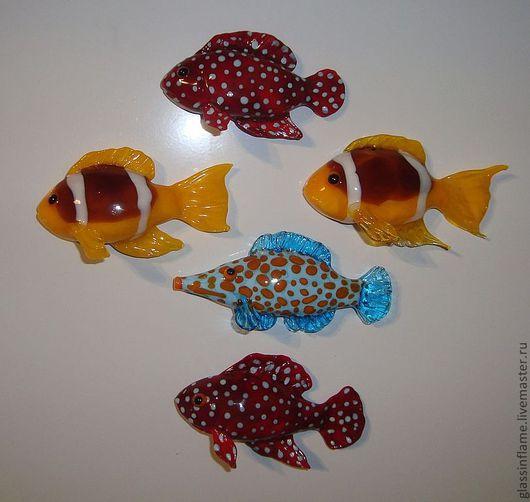 Магниты ручной работы. Ярмарка Мастеров - ручная работа. Купить Коллекция рыб-магнитов. Handmade. Лэмпворк, стекло