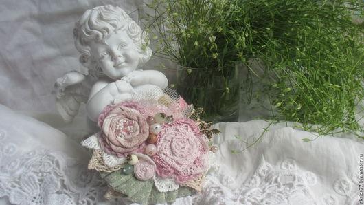 Броши ручной работы. Ярмарка Мастеров - ручная работа. Купить Цветение.... Handmade. Бледно-розовый, весеннее украшение, текстильная брошь