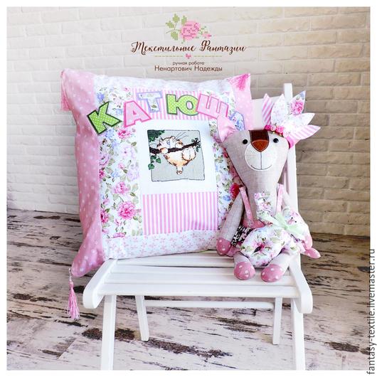 Детская ручной работы. Ярмарка Мастеров - ручная работа. Купить Подушка декоративная, детская, именная, лоскутная подушка. Handmade.