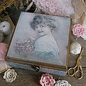 """Для дома и интерьера ручной работы. Ярмарка Мастеров - ручная работа Шкатулка """" Девочка с розовыми цветами"""". Handmade."""