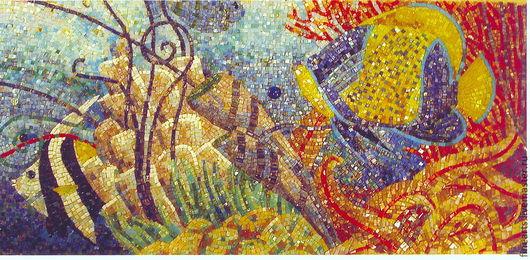Ванная комната ручной работы. Ярмарка Мастеров - ручная работа. Купить мозаичное панно Морские рыбы. Handmade. Мозаика