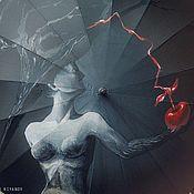 Аксессуары ручной работы. Ярмарка Мастеров - ручная работа Расписной зонт Девушка с яблоком. Handmade.