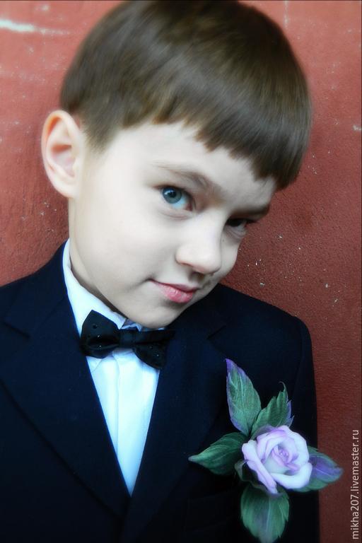 """Цветы ручной работы. Ярмарка Мастеров - ручная работа. Купить Бутоньерка""""Акварельная нежность"""". Handmade. Бледно-сиреневый, розы, шёлк японский"""