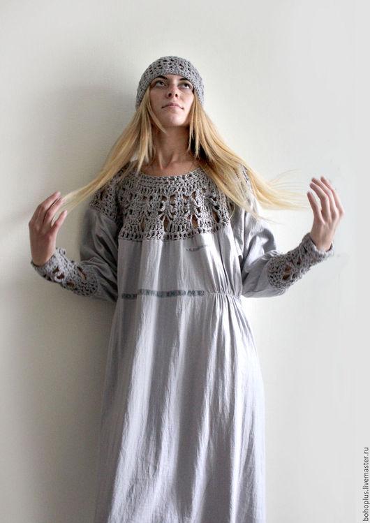 """Платья ручной работы. Ярмарка Мастеров - ручная работа. Купить Платье из тонкого льна """"Серафима серебряная"""". Handmade. Серый"""
