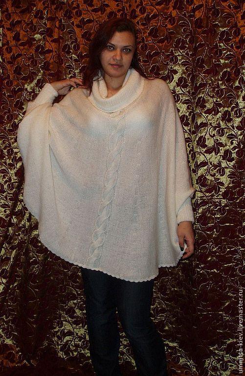 Фото. Вязаный пончо-свитер сделан на заказ по эскизу заказчицы.