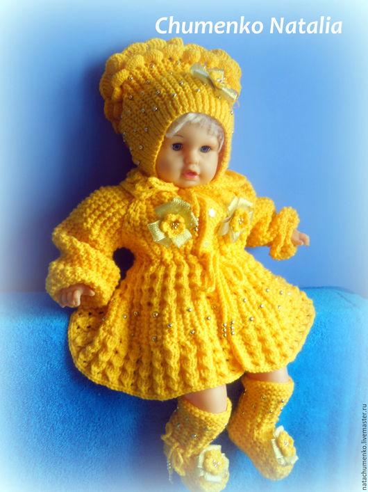 Одежда для девочек, ручной работы. Ярмарка Мастеров - ручная работа. Купить Комплект для девочки. Handmade. Желтый, вязаное пальто