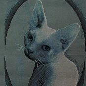 """Картины и панно ручной работы. Ярмарка Мастеров - ручная работа Вышитая работа кошка """"Матильда"""". Handmade."""
