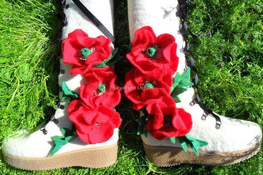 """Обувь ручной работы. Ярмарка Мастеров - ручная работа. Купить валенки """"Маковый букет"""" -2. Handmade. Белый, валенки, мак"""
