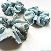 Резинка для волос ручной работы. Ярмарка Мастеров - ручная работа Резинка для волос:Резинки для волос голубые в горох. Handmade.