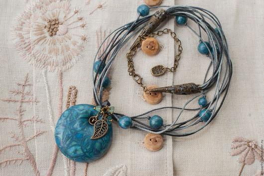 Кулоны, подвески ручной работы. Ярмарка Мастеров - ручная работа. Купить Синий вечер - Кулон из полимерной глины. Handmade. Синий