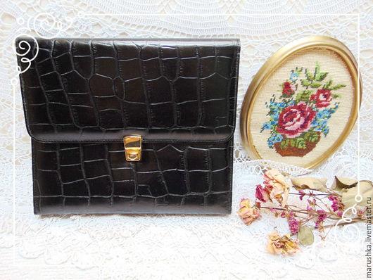 Винтажные сумки и кошельки. Ярмарка Мастеров - ручная работа. Купить Винтажная папка для деловых бумаг, Италия. Handmade. Черный